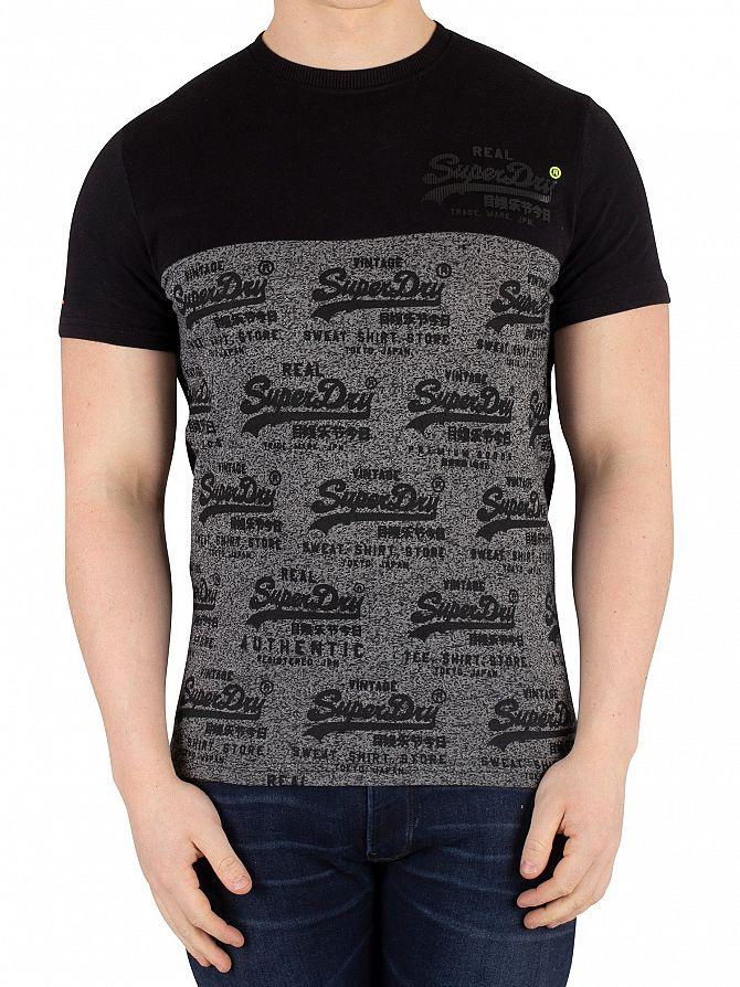 Superdry Black Vintage Logo Neon Panel T-Shirt