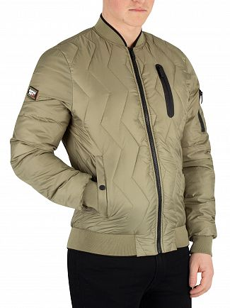 Superdry Washed Khaki Zig Zag Quilt Bomber Jacket