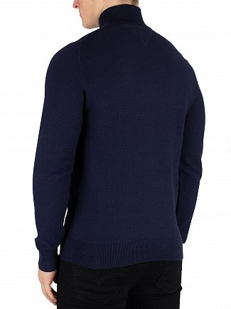 Tommy Hilfiger Black Iris Navy Fine Structured Zip Jumper