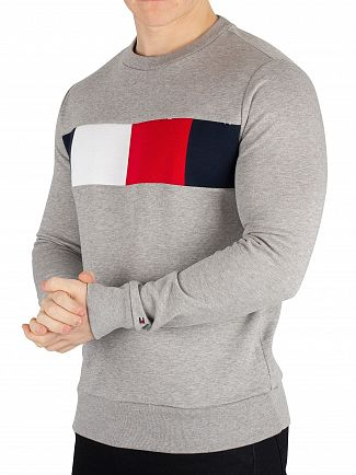 Tommy Hilfiger Cloud Heather Flag Chest Logo Sweatshirt