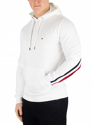 Tommy Hilfiger Bright White Global Stripe Rib Insert Pullover Hoodie
