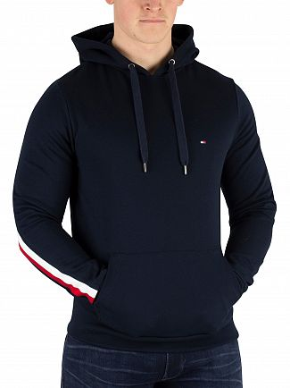 Tommy Hilfiger Sky Captain Global Stripe Rib Insert Pullover Hoodie