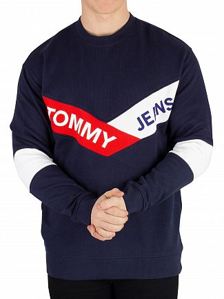 Tommy Jeans Black Iris Navy Chevron Sweatshirt