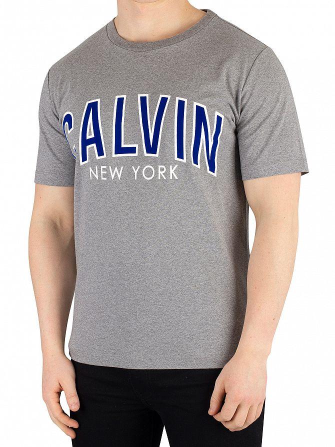 Calvin Klein Jeans Grey Heather Curved Varsity T-Shirt