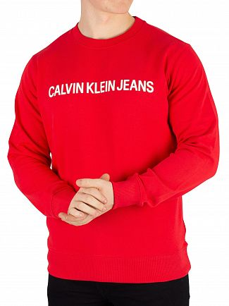 Calvin Klein Jeans Racing Red/Bright White Institutional Logo Sweatshirt
