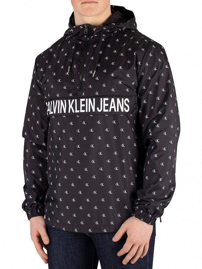 Calvin Klein Jeans Black Monogram Nylon 1/4 Zip Jacket