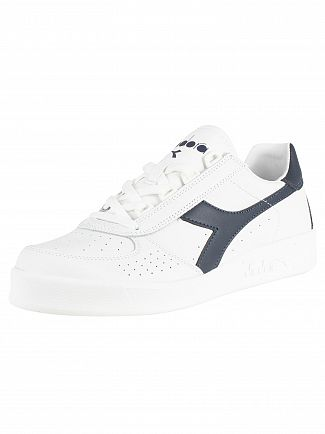 Diadora White/Blue Denim B. Elite Leather Trainers