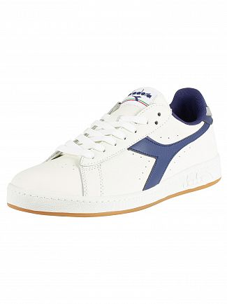 Diadora White/Twilight Blue/Ash Game L Low Leather Trainers