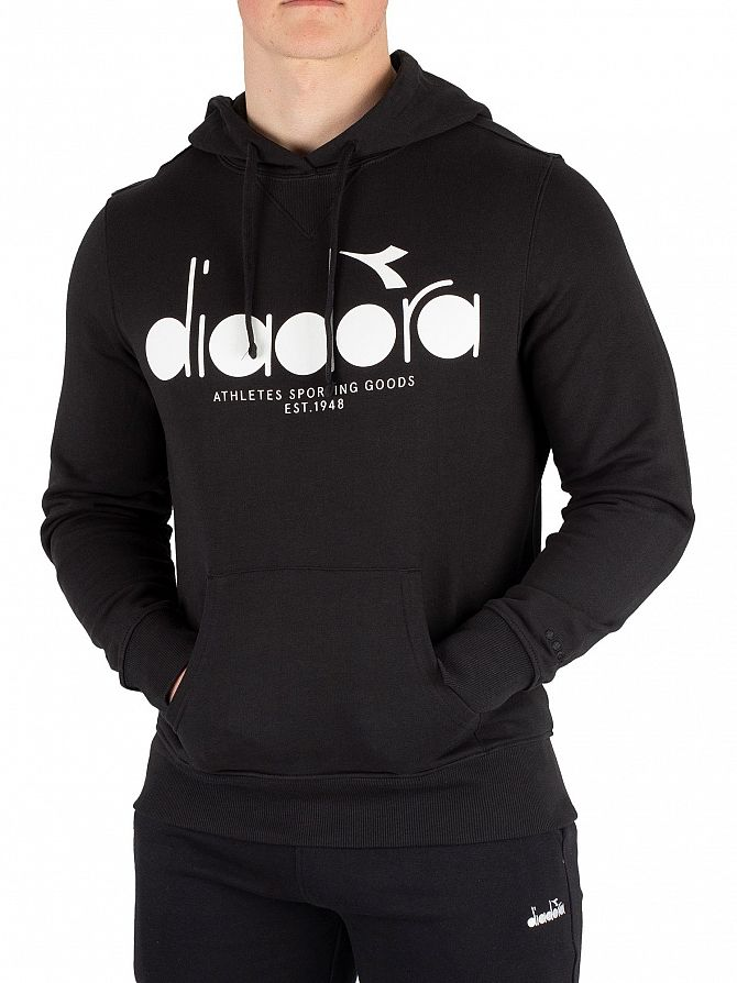 Details about Diadora Men's Graphic Pullover Hoodie, Black