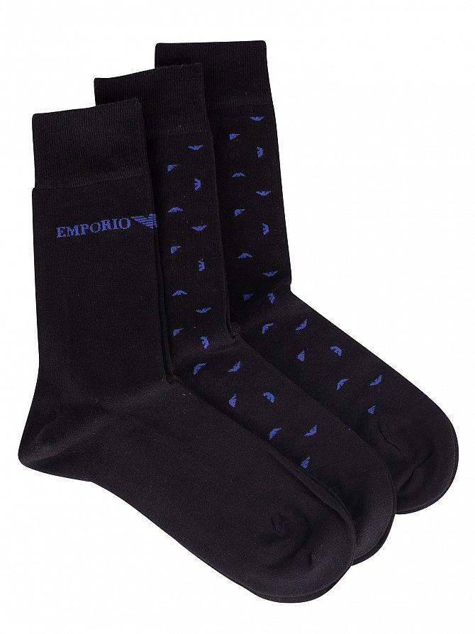Emporio Armani Black 3 Pack Short Socks