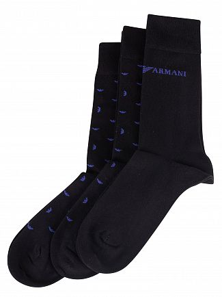 Emporio Armani Black 3 Pack Short Socks