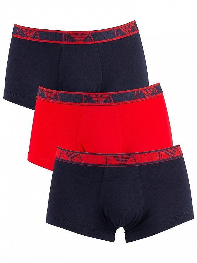 Emporio Armani Marine/Red/Marine 3 Pack Trunks