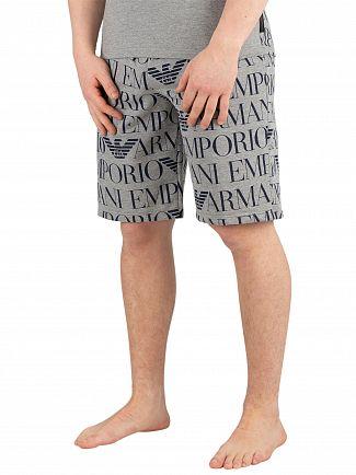 Emporio Armani Grey Melange Printed Sleepshorts