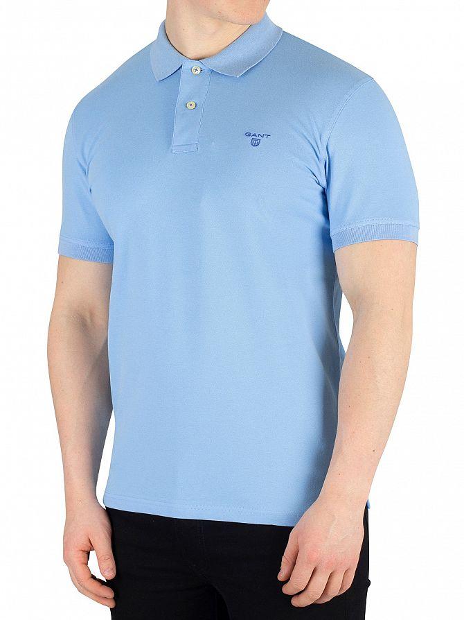 Gant Toy Blue Contrast Collar Pique Rugger Poloshirt