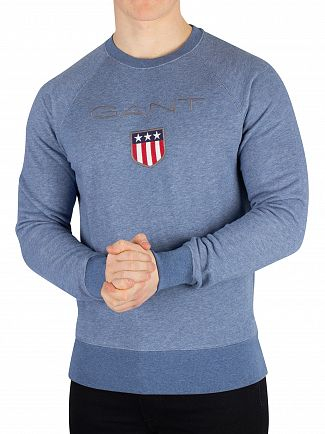 Gant Denim Blue Melange Shield Sweatshirt