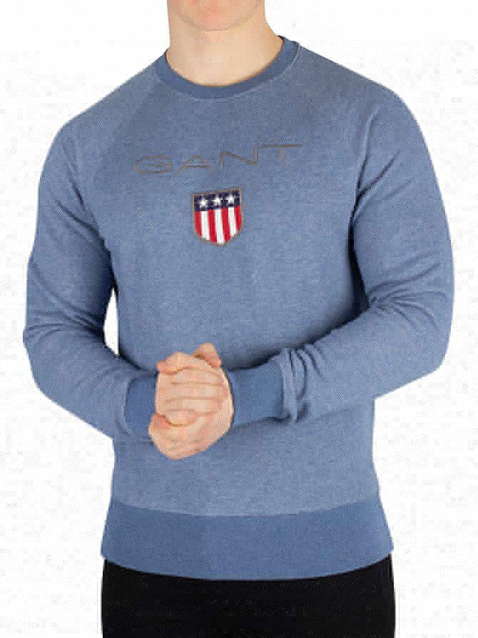 Gant Denim Blue Melange Shield Sweatshirt