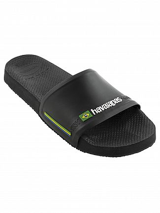 Havaianas Black Brasil Flag Sliders