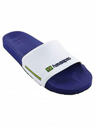 Havaianas Naval Blue/White Brasil Flag Sliders