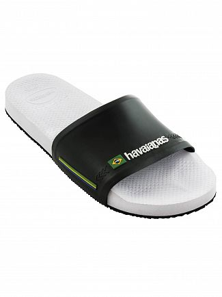 Havaianas White/Black Brasil Flag Sliders