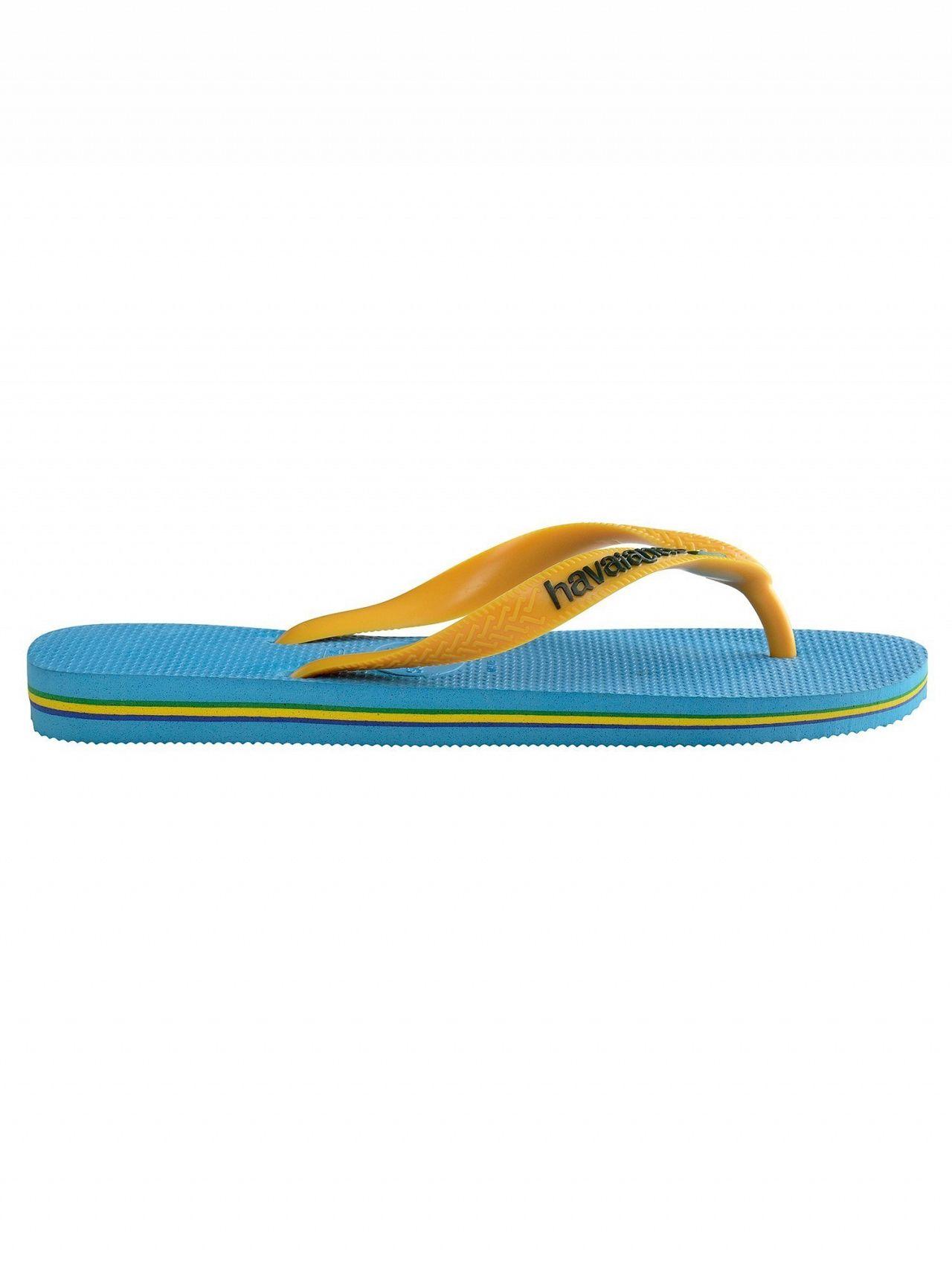 17e408ed8e121c Havaianas Turquoise Yellow Brasil Logo Flip Flops