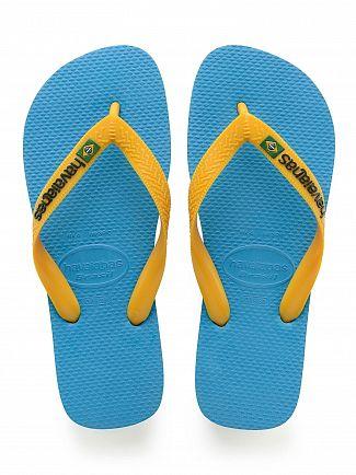 Havaianas Turquoise/Yellow Brasil Logo Flip Flops