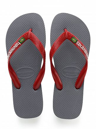 Havaianas Gray Steel/Red Brasil Logo Flip Flops