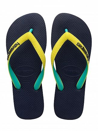 Havaianas Navy/Neon Yellow Top Mix Flip Flops