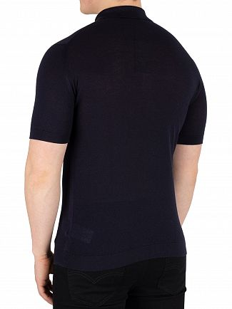 John Smedley Navy Roth Pique Poloshirt