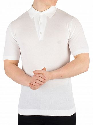 John Smedley White Roth Pique Poloshirt