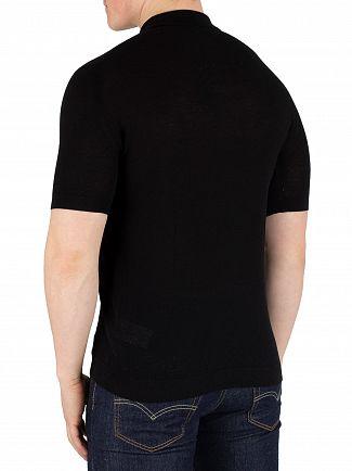 John Smedley Black Roth Pique Poloshirt