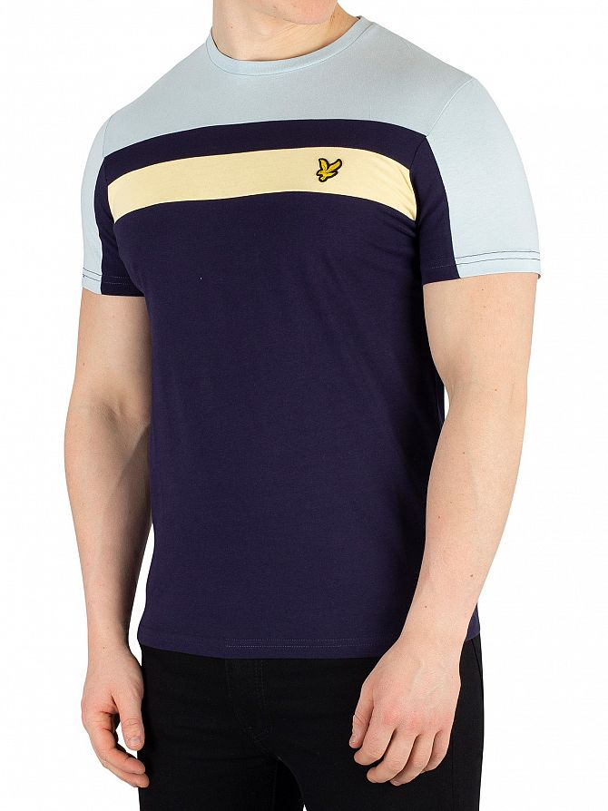 Lyle & Scott Navy Colour Block T-Shirt