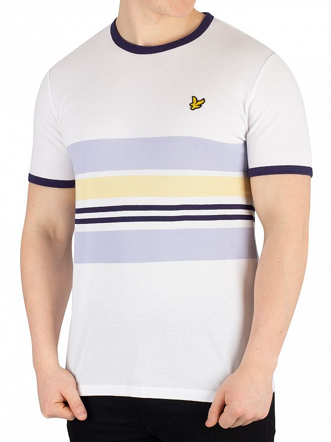 Lyle & Scott White Pique Stripe Ringer T-Shirt