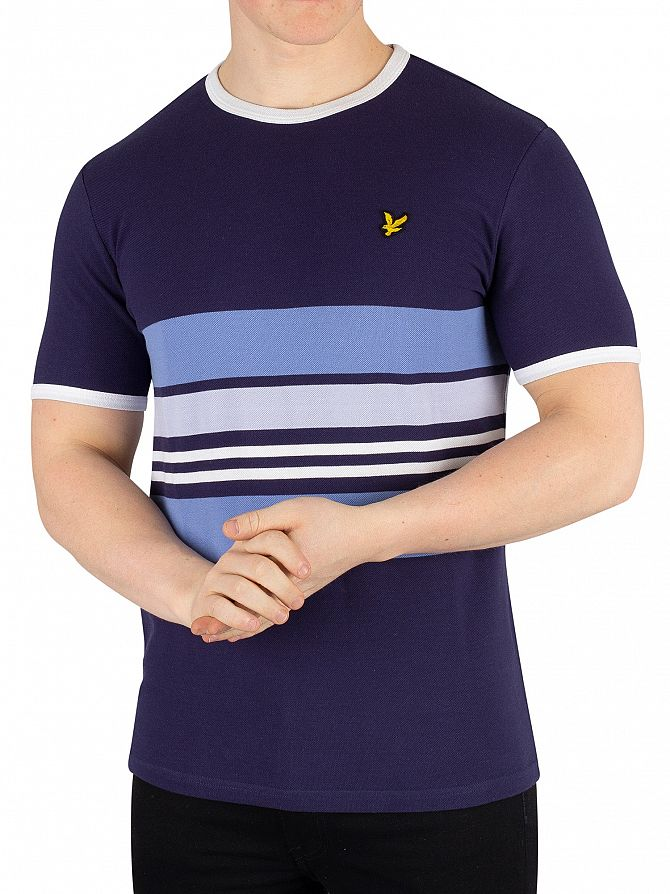 Lyle & Scott Navy Pique Stripe Ringer T-Shirt