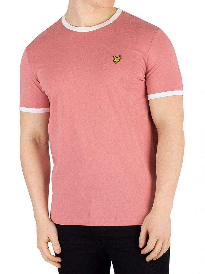 Lyle & Scott Pink Shadow / Snow White Ringer T-Shirt