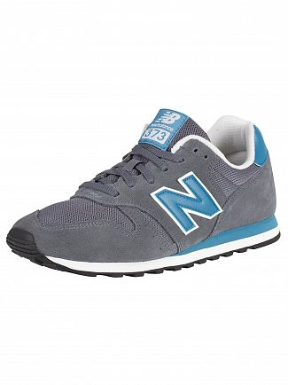 New Balance Grey/Blue 373 Suede Trainers