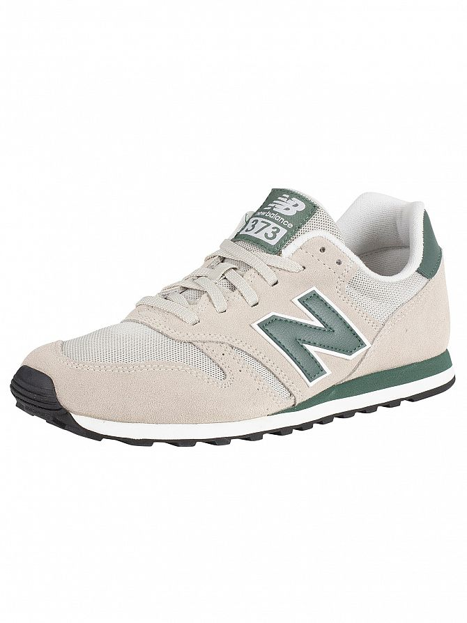 New Balance Beige/Green 373 Suede Trainers