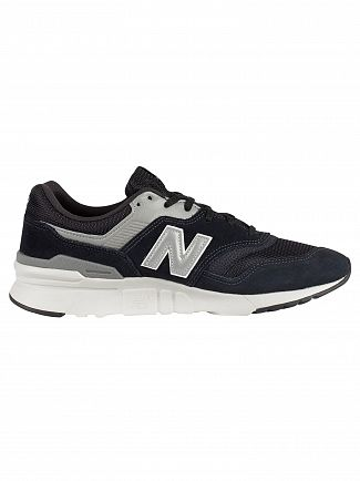 New Balance Black/Silver/Grey 977 Suede Trainers