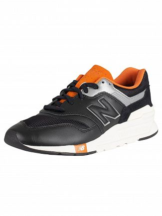 New Balance Black/Grey/Orange 997H Leather Trainers