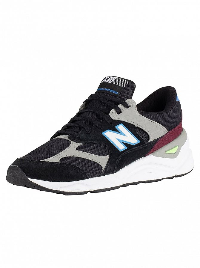 New Balance Black/Light Cobalt X-90 Suede Trainers