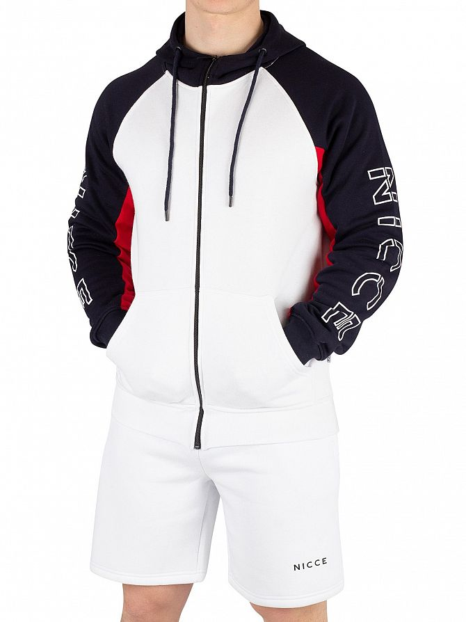 Nicce London White/Deep Navy Stockton Zip Hoodie