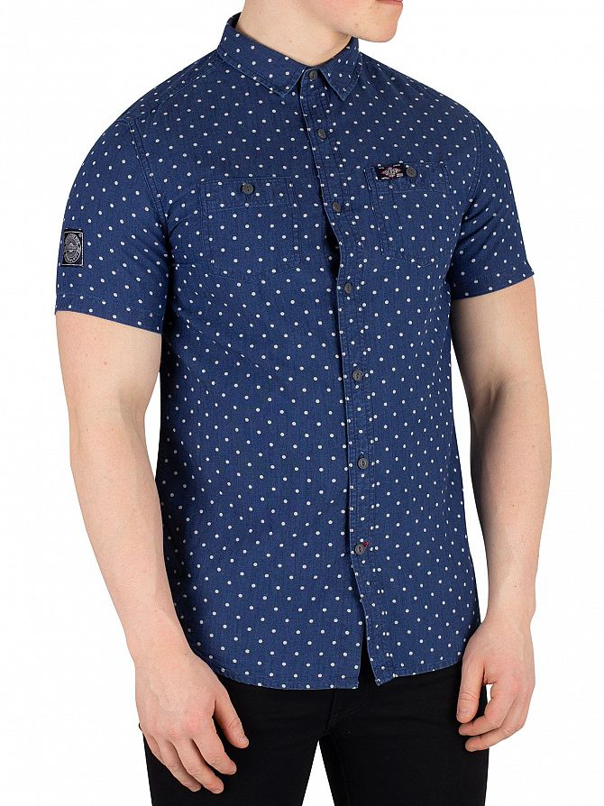 Superdry Classic Blue Dot Indigo Riveter Shortsleeved Shirt