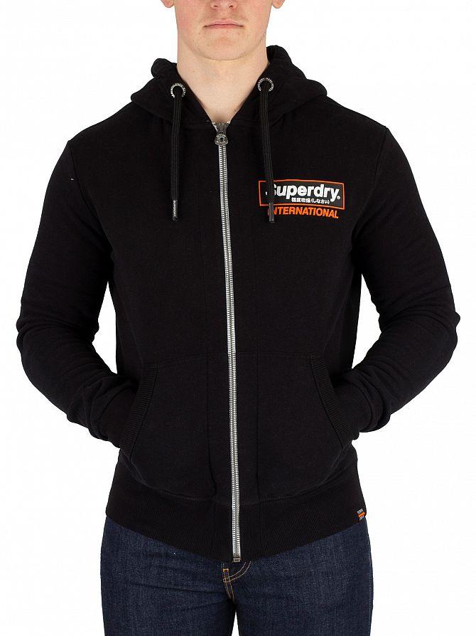 Superdry Black International Monochrome Zip Hoodie