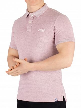 Superdry Power Pink Marl Vintage Destroyed Poloshirt