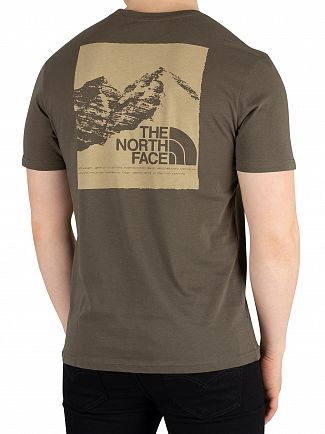 The North Face New Taupe Green Graphic T-Shirt