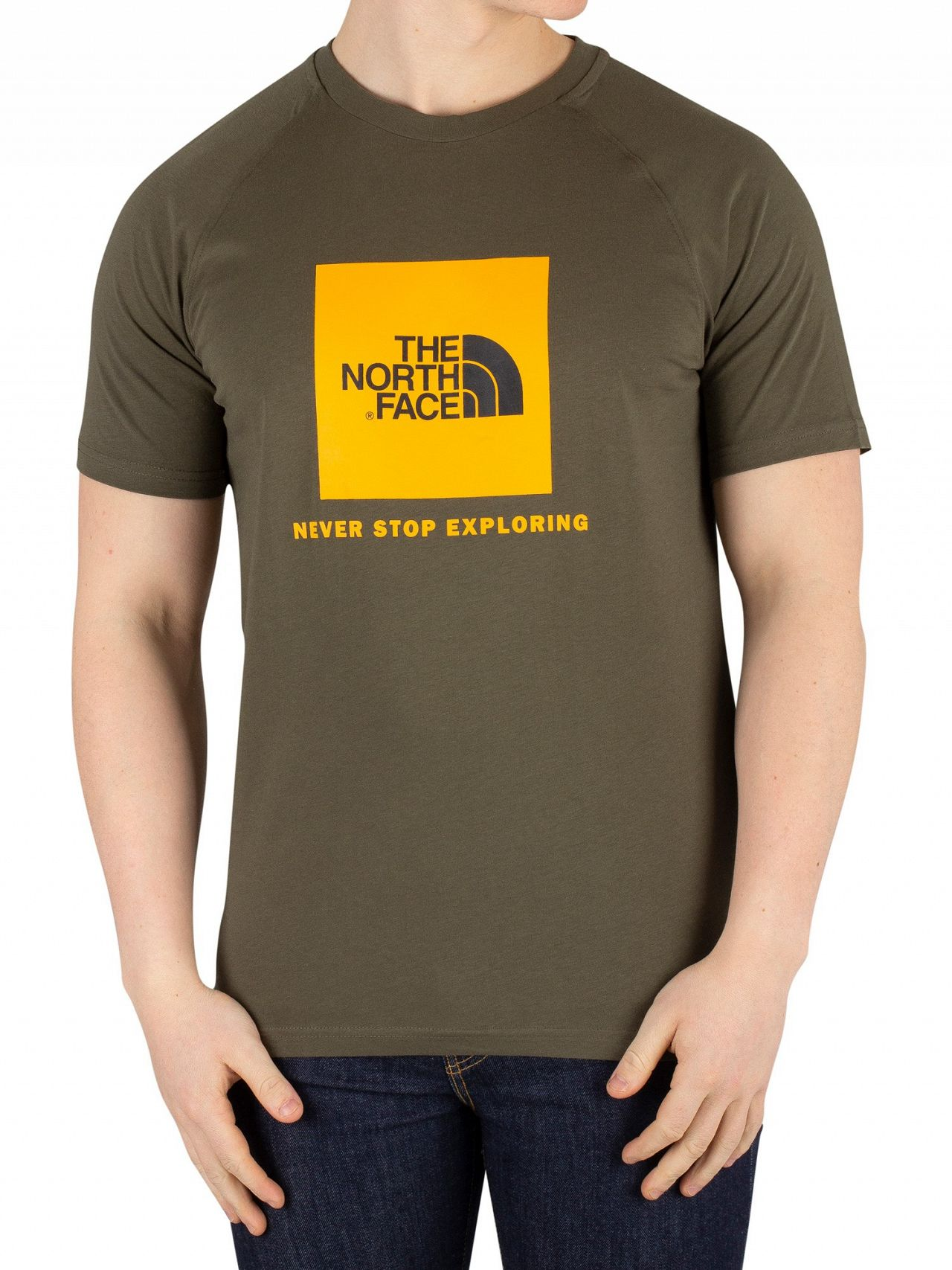 67e870f16 The North Face New Taupe Green Raglan Redbox T-Shirt