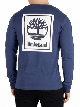 Timberland Blue Longsleeved Graphic T-Shirt