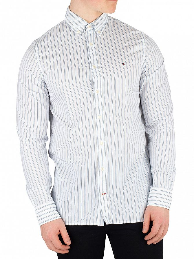 Tommy Hilfiger Regatta/Bright White Slim Dobby Twill Striped Shirt