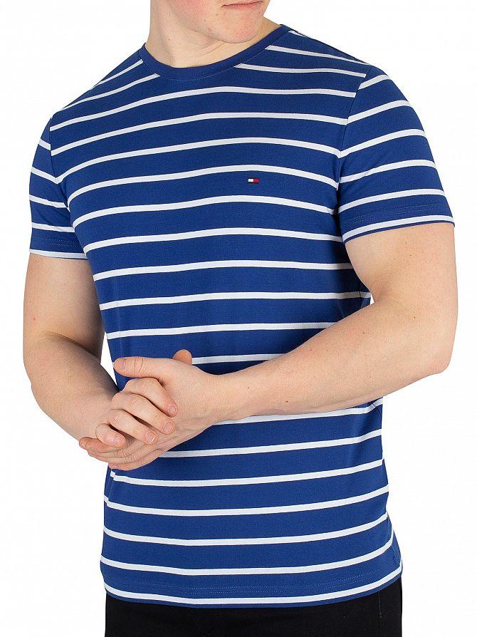 Tommy Hilfiger Blue Quartz Bright White Stretch Slim Fit T-Shirt