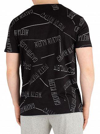 Calvin Klein Stranger Print Black Rounded V-Neck T-Shirt