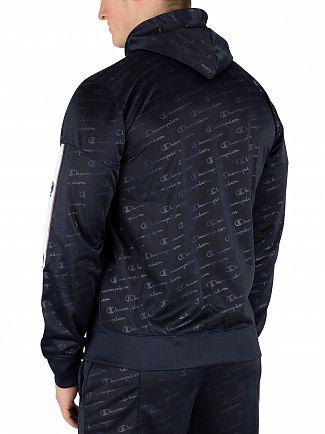 Champion Navy All Over Logo Zip Hoodie